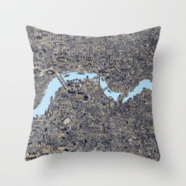 London color map city drawing illustration Thames Throw Pillow