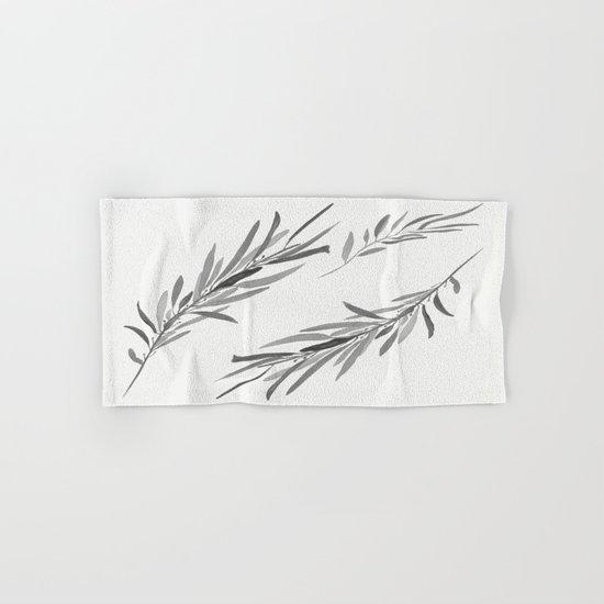Eucalyptus leaves black and white Hand & Bath Towel