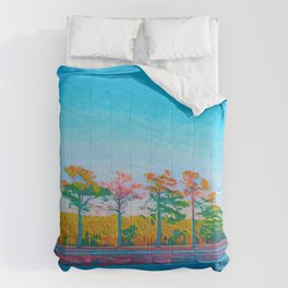 Watercolor Tree Line Tropical Paradise Comforters