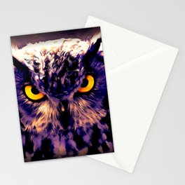 owl look digital painting reacls Stationery Cards