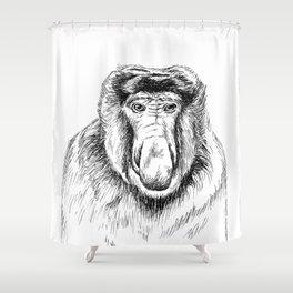 Proboscis Monkey Drawing Shower Curtain