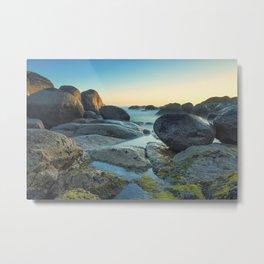 Ocean between the rocks by the beach Metal Print