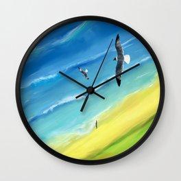 Birds view above sea. Wall Clock