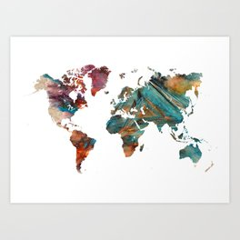 Map of the World triangle Art Print