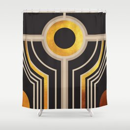 Art Deco Watching You In Black And Gold Shower Curtain