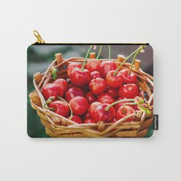 Wooden wicker basket with ripe red cherries Carry-All Pouch