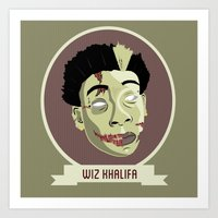 wiz khalifa Art Prints featuring zombie wiz by Sneaker Pie