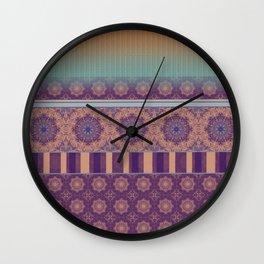 Purple Teal Orange Boho Mandala Tile Ombre Mixed Pattern Wall Clock