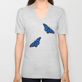 Blue Monarch Butterfly Unisex V-Neck