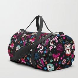 Lucky Cat Maneki Neko , Dragons and Koi fish Duffle Bag