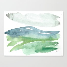 watercolor abstract landscape // mountains meadow field clouds blue green grey Canvas Print