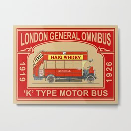 The Vintage London Bus Metal Print