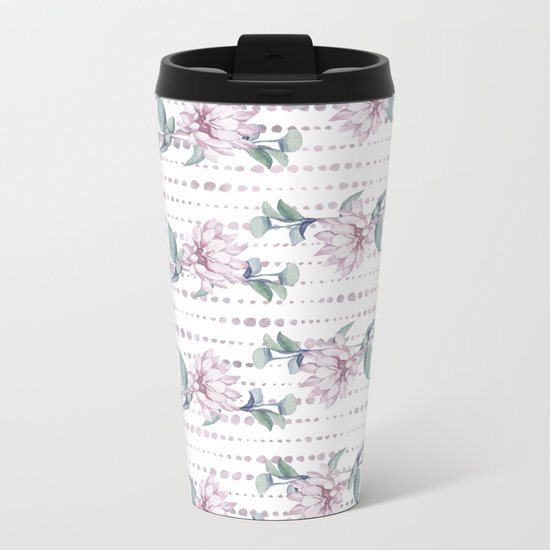 Pretty Succulent Rose Gold Striped Polka Dots Metal Travel Mug