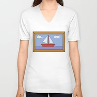 simpsons V-neck T-shirts featuring Simpsons Sailboat Artwork by d3mentia