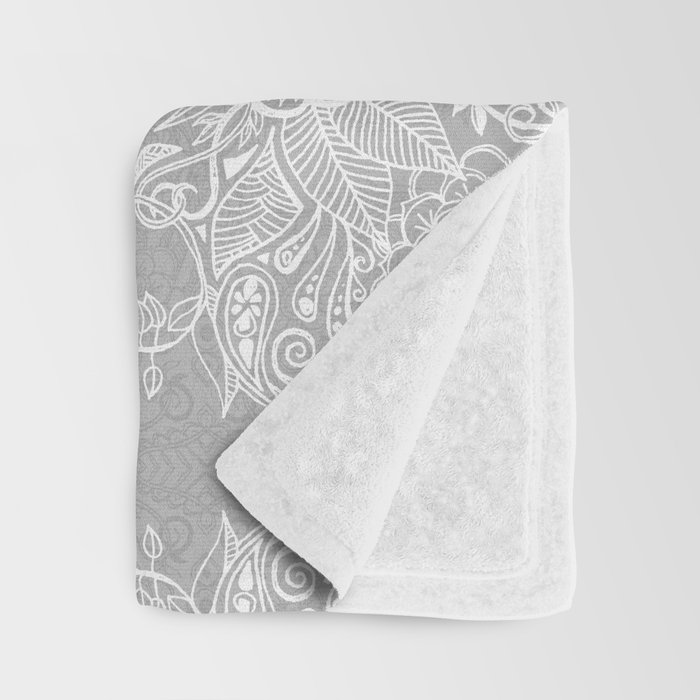Lace & Shadows 2 - Monochrome Moroccan doodle Throw Blanket