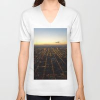 skyline V-neck T-shirts featuring Skyline by Mints&Bees
