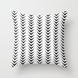 White Smoke Chevron Line Mid-Century Arrow Shapes Throw Pillow