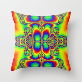 """""""Psyche"""" Super Psychedelic Trippy Fractal Art Print Throw Pillow"""