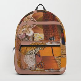She's a tiger - a modern collage in orange Backpack