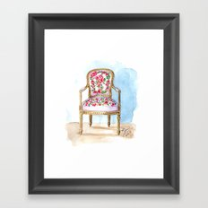 The Rose Chair Watercolor Framed Art Print