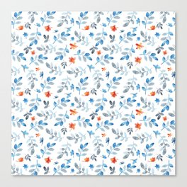 Hand painted watercolor orange pastel blue floral Canvas Print