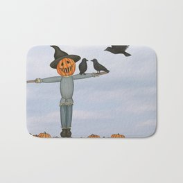 scarecrow and crows in the pumpkin patch Bath Mat