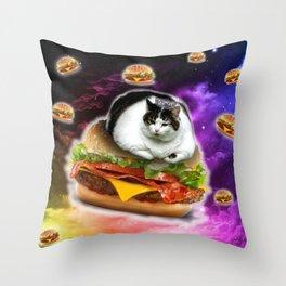 hamburger cat king Spece cosmos pornfood food fast food crazy cat Throw Pillow