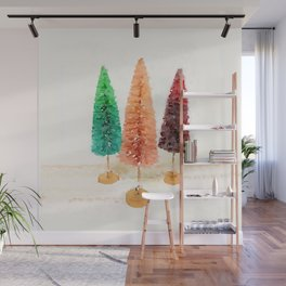 Vintage Bottlebrush Pastel Trees Wall Mural