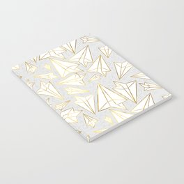 Paper Airplanes Faux Gold on Grey Notebook