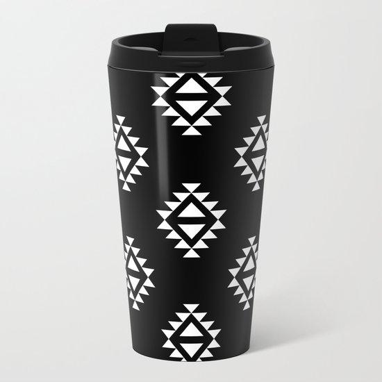 Linocut southwest minimal pattern black and white print scandinavian minimalism Metal Travel Mug