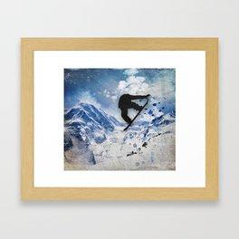 Snowboarder In Flight Framed Art Print
