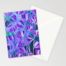 EFFLORESCENCE Lavender Purple Blue Colorful Floral Watercolor Painting Summer Garden Flowers Pattern Stationery Cards