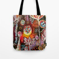 new year Tote Bags featuring New Year by kristenheinlein