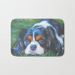 Beautiful Tricolour Cavalier King Charles Spaniel Dog Painting by L.A.Shepard Bath Mat