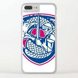 Dragon and Knight Fighting Crest Clear iPhone Case