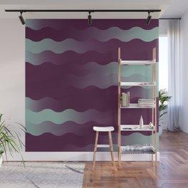 Mint Plum Gradient Wave Wall Mural