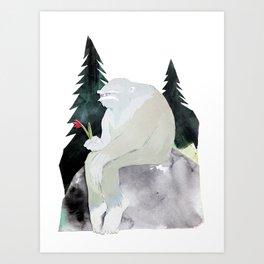 Sad Bigfoot Art Print