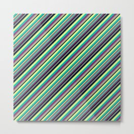 Summer Flowers Inclined Stripes Metal Print