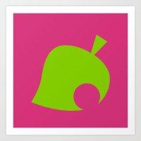 animal crossing Art Prints featuring Animal Crossing Summer Leaf by Rebekhaart