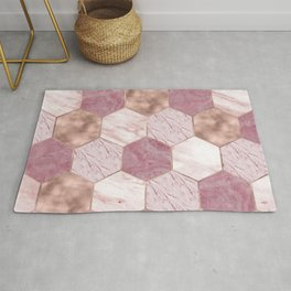 Pink marble honeycomb with rose gold accents Rug