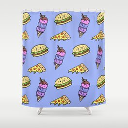 Fast Food Cuties (Blue) Shower Curtain