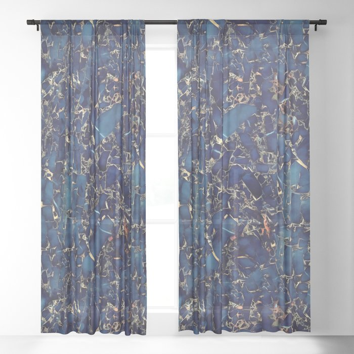 Dark blue stone marble abstract texture with gold streaks Sheer Curtain