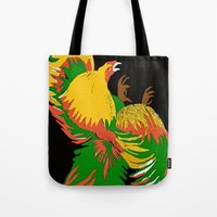 rooster Tote Bags featuring Rooster by Saundra Myles