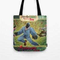 robin hood Tote Bags featuring DRACULA VS. ROBIN HOOD VS. JEKYLL & HYDE! by Eco Comics