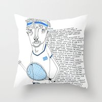 tennis Throw Pillows featuring Tennis by Andrea Forgacs