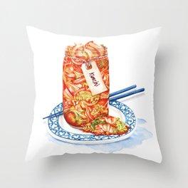 Kimchi watercolour food illustration Throw Pillow