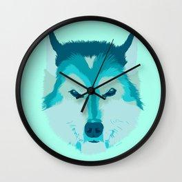 husky - teal Wall Clock