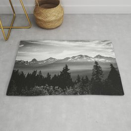 Morning in the Mountains Black and White Rug