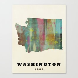Washington state map modern Canvas Print