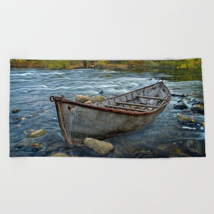 Canoe on the Thornapple River in Autumn Beach Towel by randynyhof